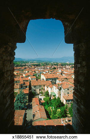 Stock Photography of High angle view of a city from a window.