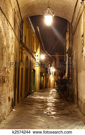 Stock Photo of Street in Lucca at night k2574244.