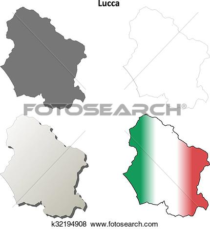 Clip Art of Lucca blank detailed outline map set k32194908.
