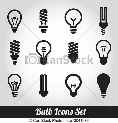 Vettori di luce, set, Lampadine, bulbo, icona.