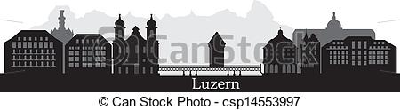 EPS Vectors of luzern skyline with bridge houses and other.