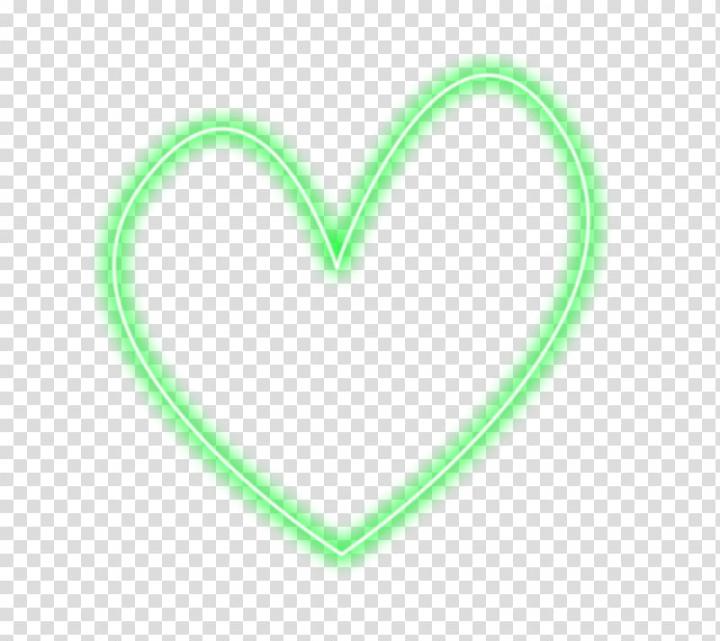Luces de neon, green neon light heart illustration.