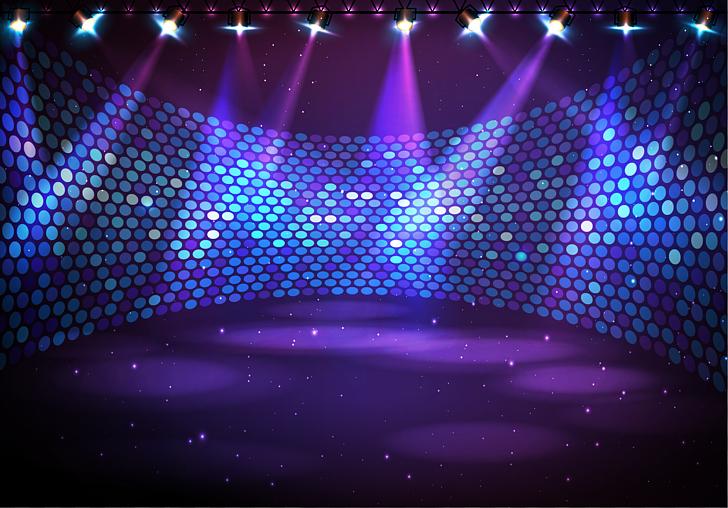 Stage Music Nightclub, Wraparound stage under lights PNG.