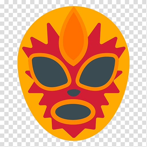 Yellow and red mask illustration, Mexico City Lucha libre.