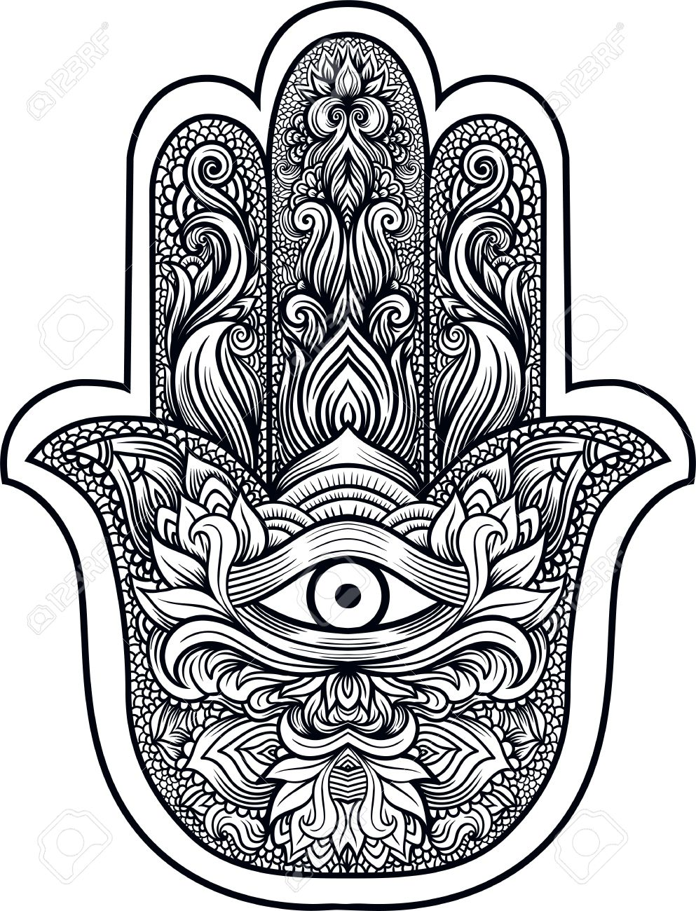 Indian Hand Hamsa Or Hand Of Fatima With Third Eye,good Luck.