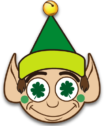 Lucky Elf With Clover clip art.