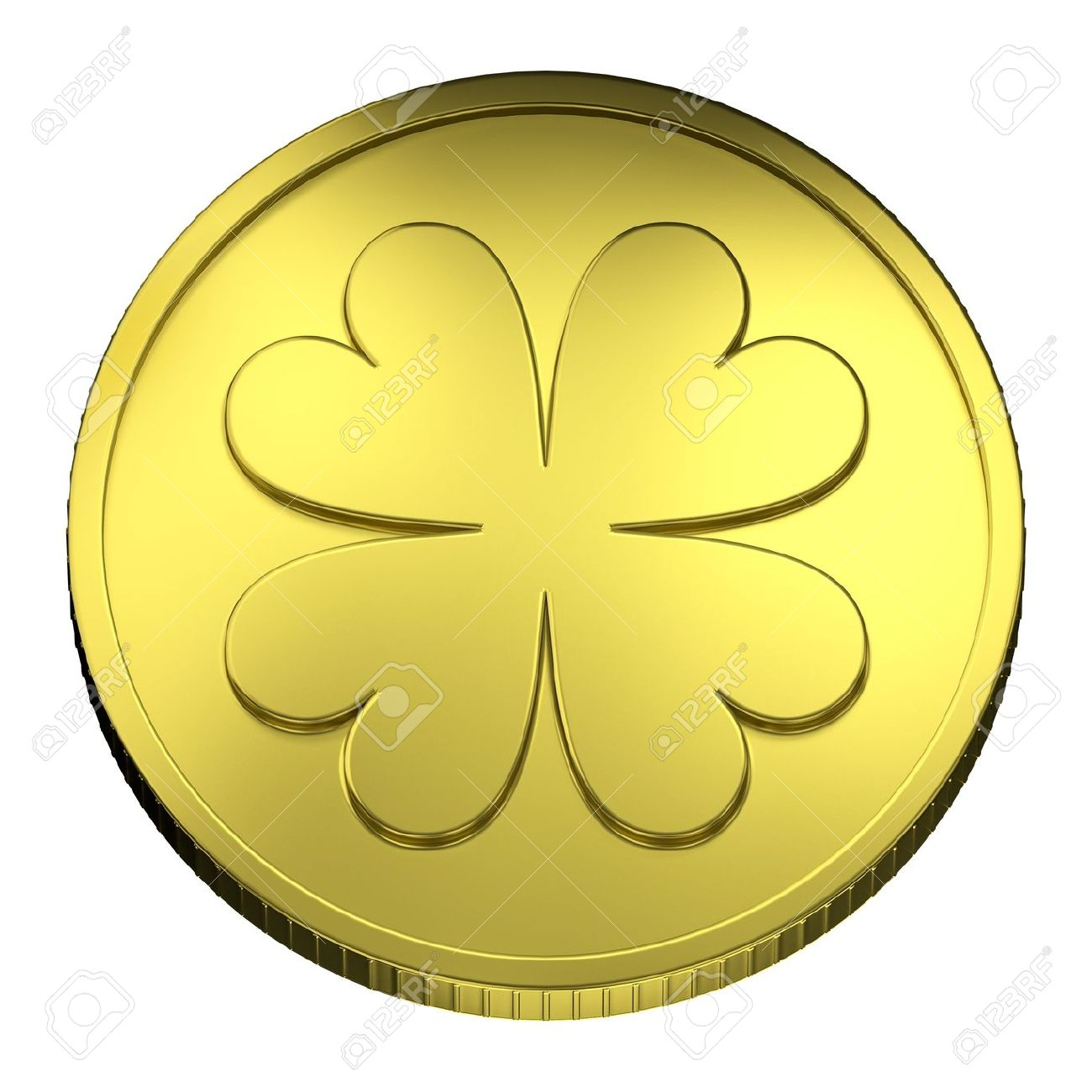 Top View Of Gold Coin Representing A Quatrefoil, Symbol Of Lucky.