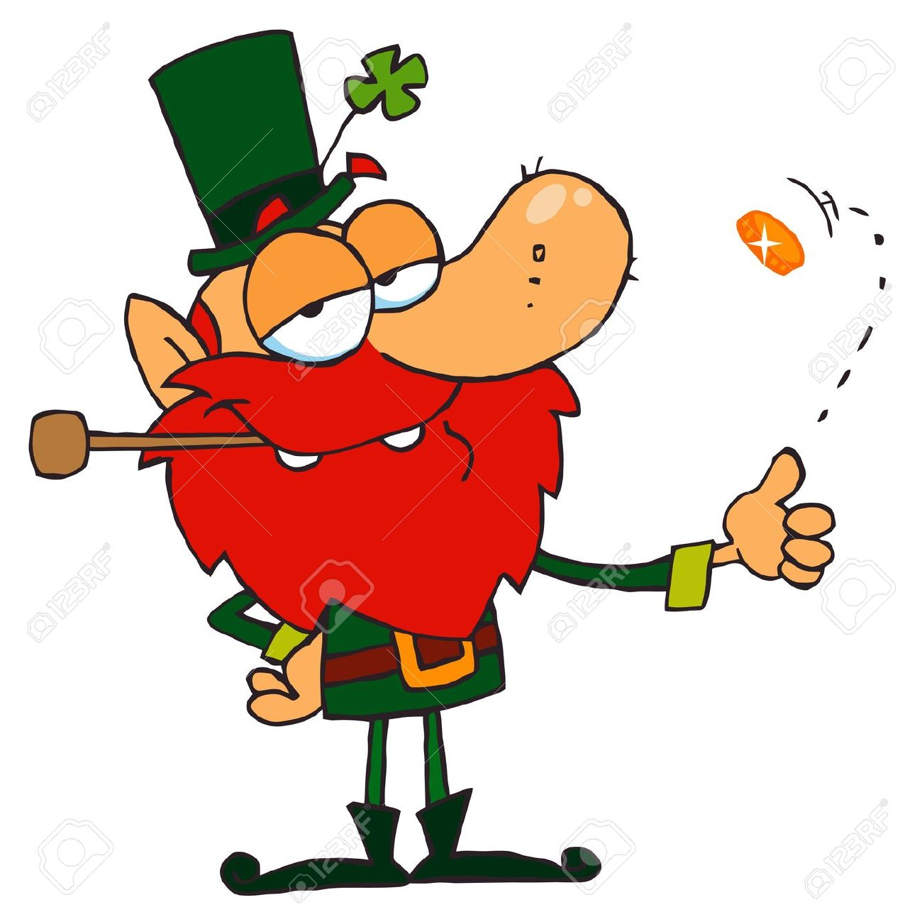 Lucky Leprechaun Playing With A Gold Coin Royalty Free Cliparts.