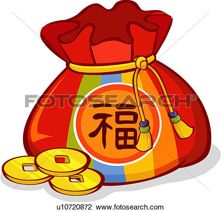 Clipart of money, winter, lucky bag, custom, tradition, coin.