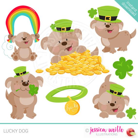 Lucky Dog Cute Digital Clipart Commercial Use OK St..