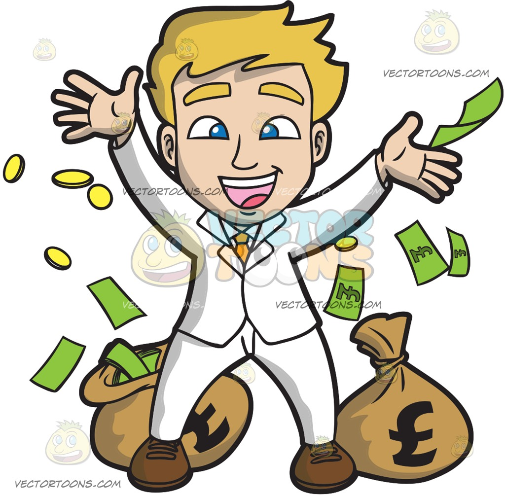A Lucky Guy Rejoicing With His Money Cartoon Clipart.