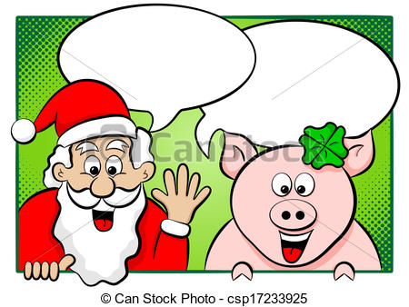 Vector Illustration of santa claus and lucky pig with speech.