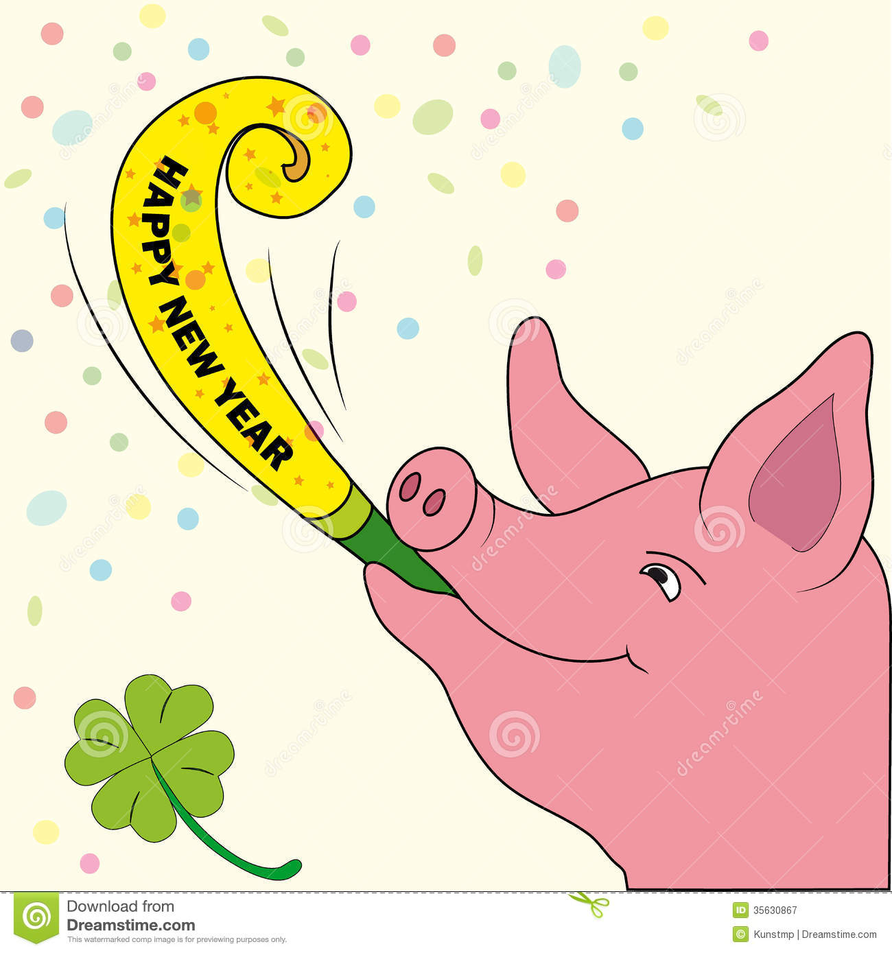 New Years Card Lucky Pig With Trumpet Royalty Free Stock.