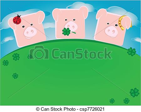 Vector Clip Art of Three lucky pigs standing on a green hill.