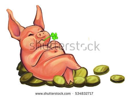 Good Luck Pig Stock Photos, Royalty.