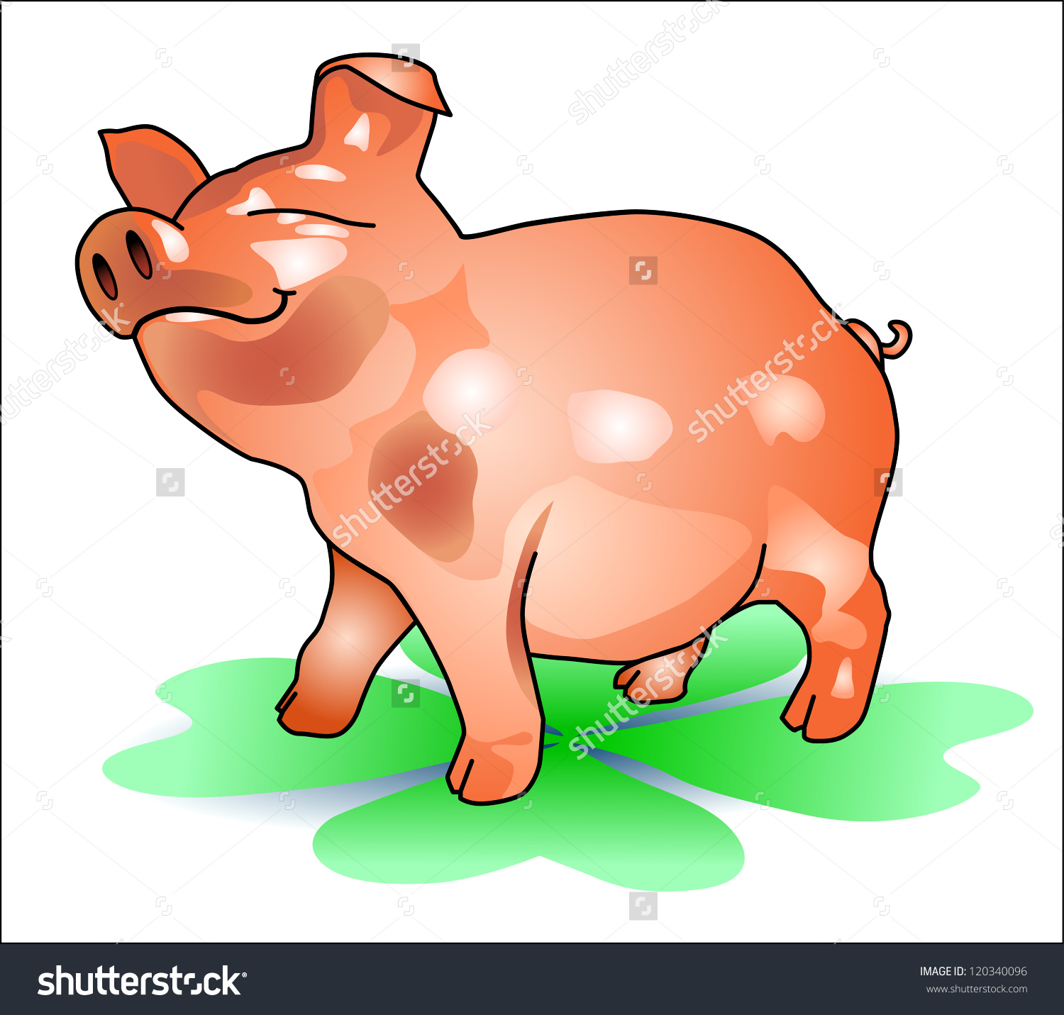 Lucky Pig Happy New Year Stock Illustration 120340096.