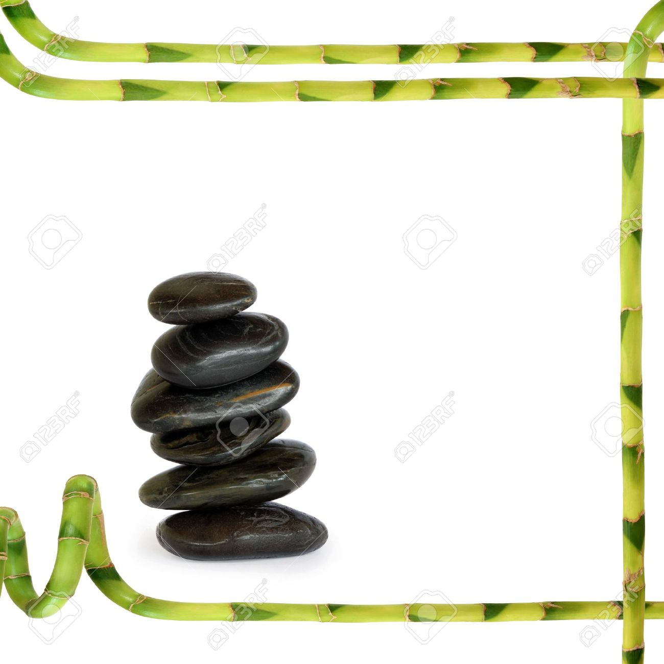 Spa Massage Treatment Stones In Perfect Balance With A Lucky.