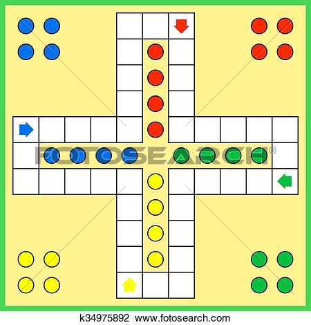 Clipart of Ludo board game k34975892.