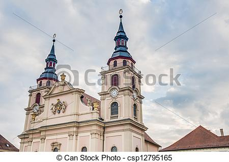 Stock Image of Church at Market Square in Ludwigsburg, Germany.