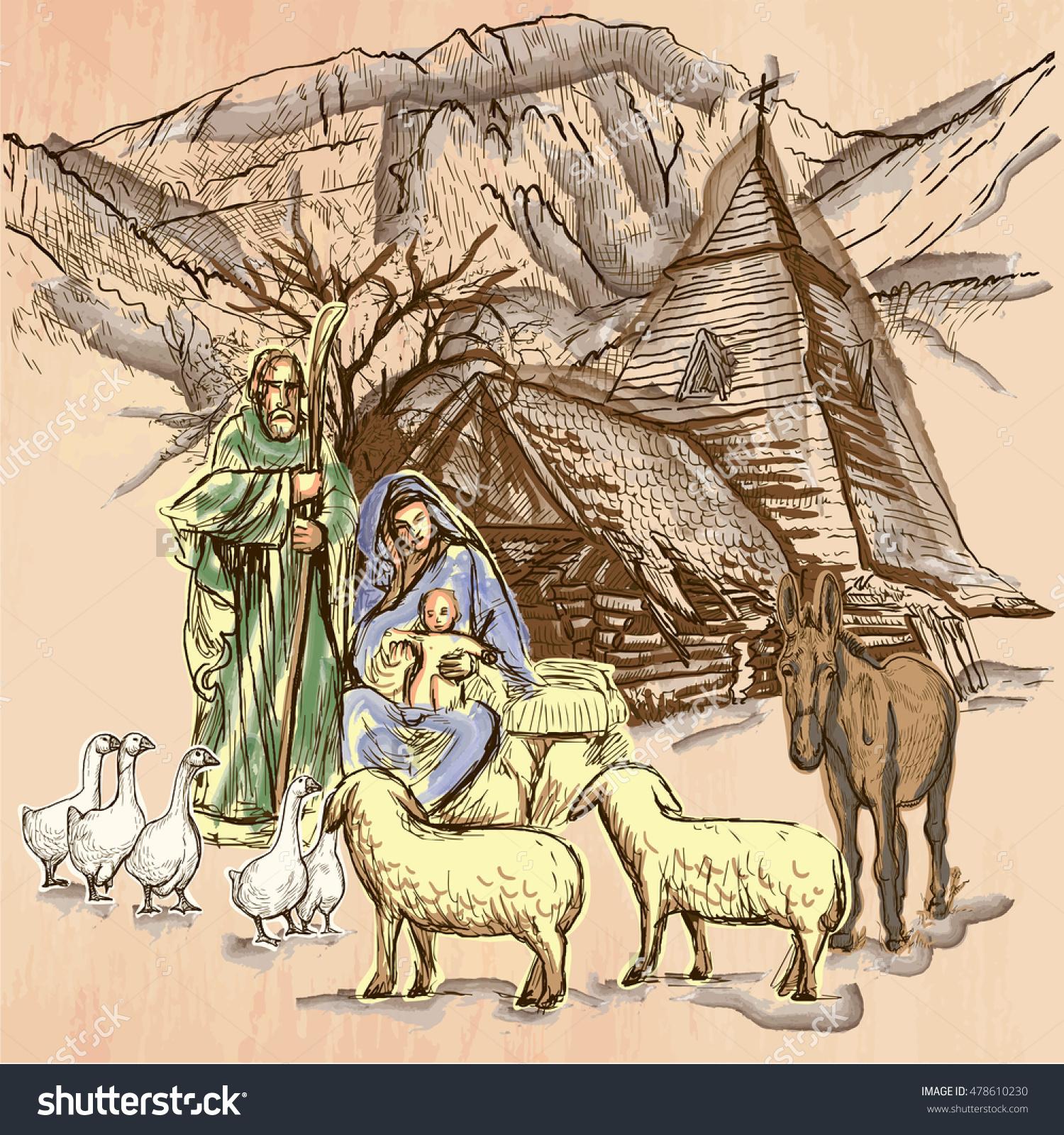 Holy Family Baby Jesus Birth Jesus Stock Vector 478610230.