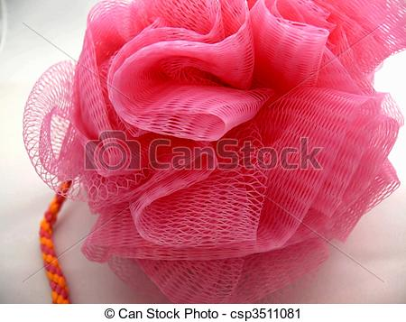 Stock Photography of Pink Bath sponge or Luffa.