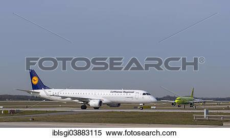 "Stock Image of ""Lufthansa regional jet Embraer Emb."