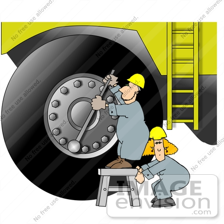 Man and Woman Workers Adjusting the Lug Nuts on an Earth Mover.