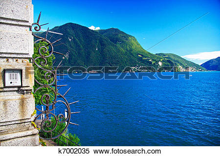 Stock Image of View of Lugano lake in summer, Switzerland k7002035.