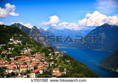 Stock Photo of Lugano city with the view of lake Lugano k7031092.