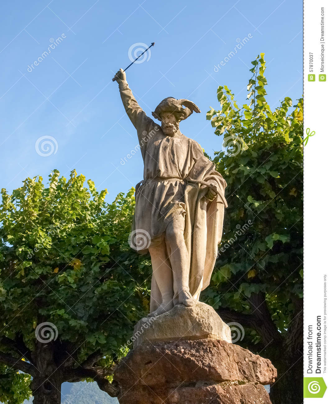 Lugano, Switzerland. Statue Of William Tell Stock Photo.