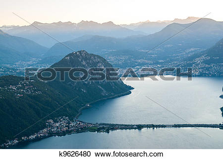 Stock Photography of Lugano and Monte San Salvatore k9626480.