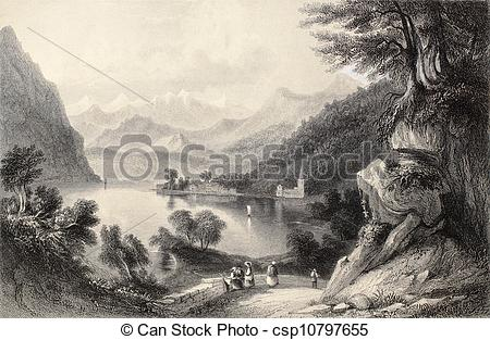 Stock Illustrations of Lake Lugano.