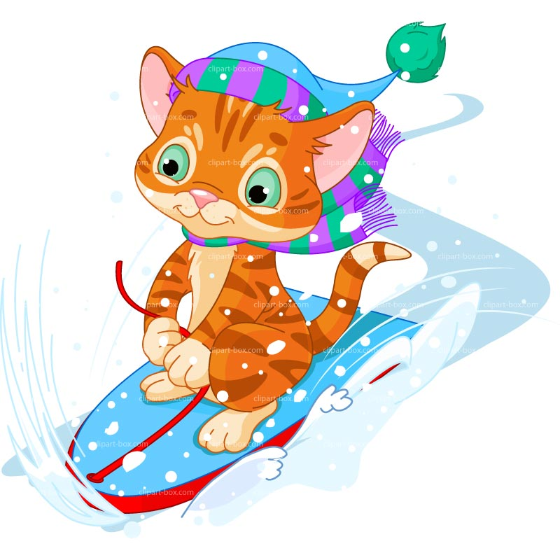 CLIPART WINTER LUGE CAT.
