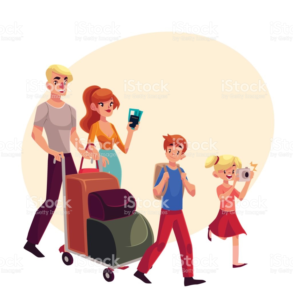 Family Of Four Pushing Luggage Cart At Airport Travelling Together.