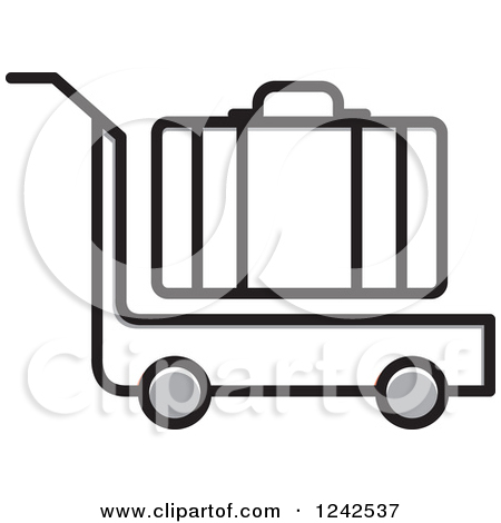 Clipart of a Luggage Cart and Suitcase.