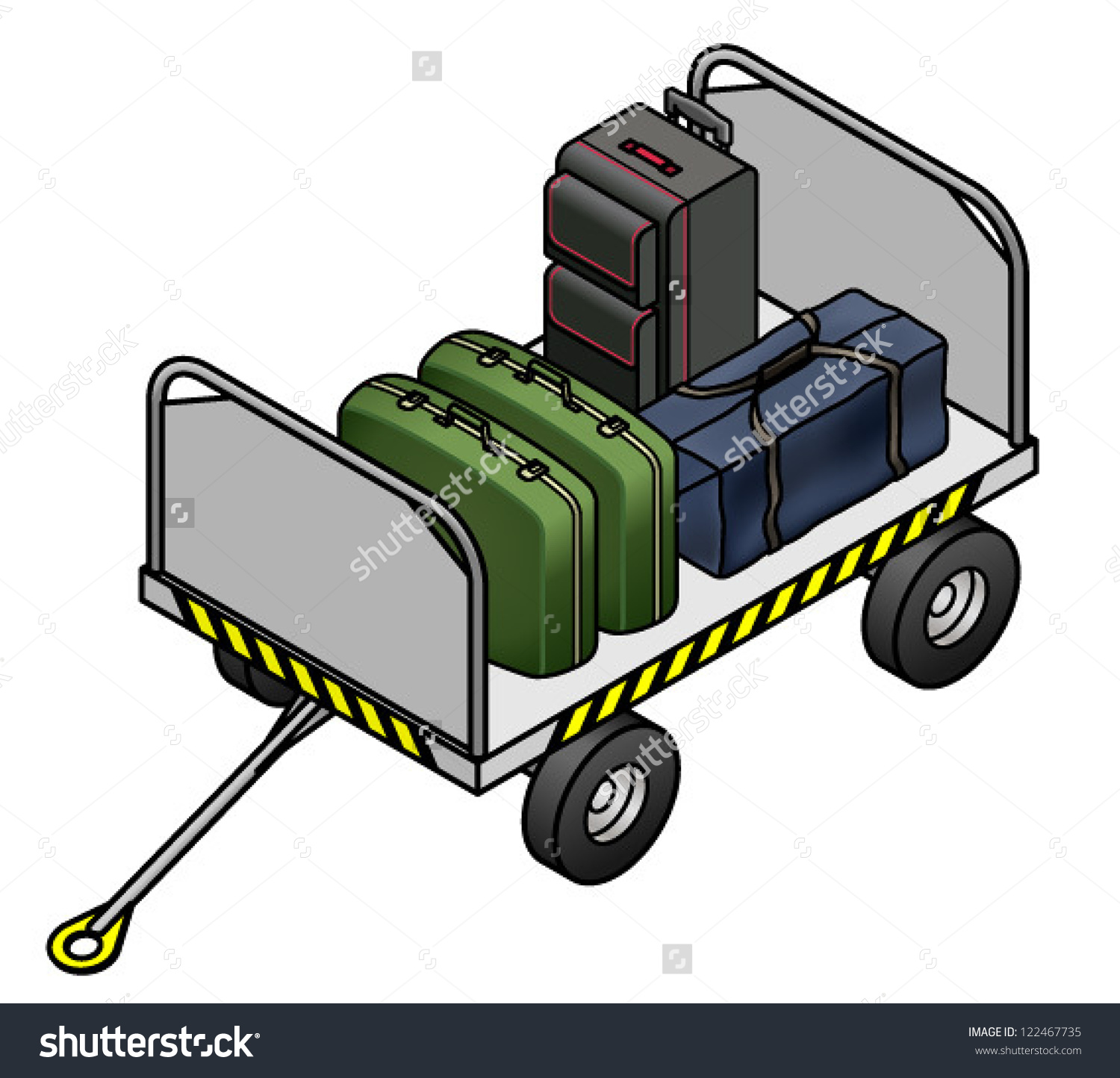 Airport Trolley Various Pieces Luggage Stock Vector 122467735.