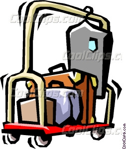 hotel luggage cart Vector Clip art.