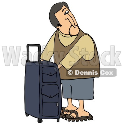 Illustration of a White Man Checking The Compartments Of His.