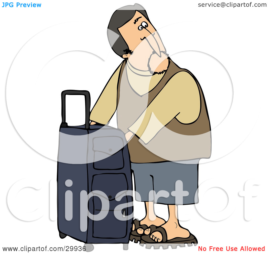Clipart Illustration of a White Man Checking The Compartments Of.