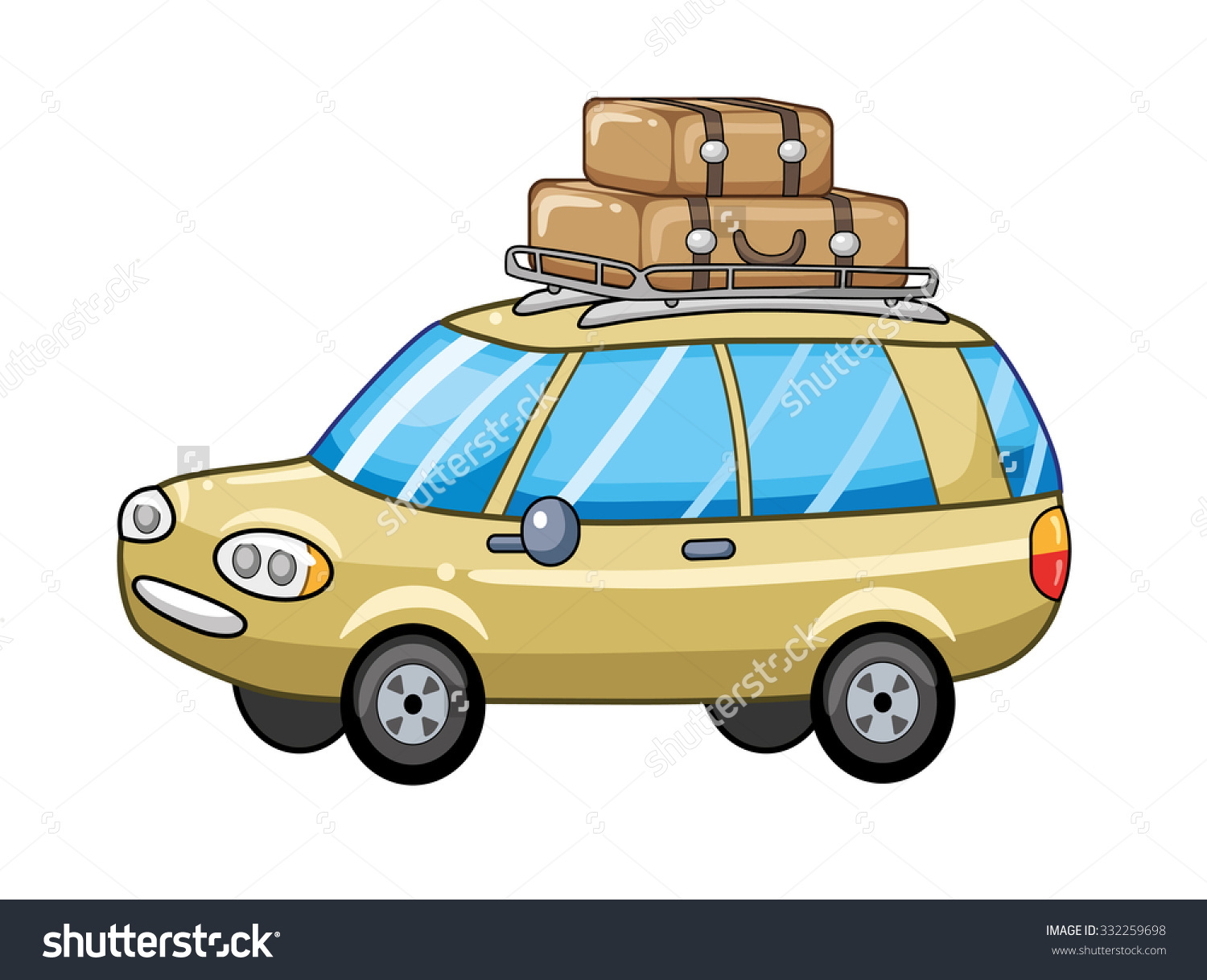 Travel Car With Suitcases On A Luggage Rack. Stock Vector.