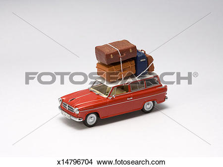Stock Photo of Toy car with luggage rack x14796704.