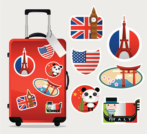 Suitcase Stickers Clipart.