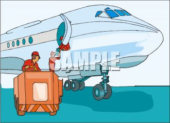 Royalty Free Clip Art Image: Baggage Handlers Loading Luggage on a.