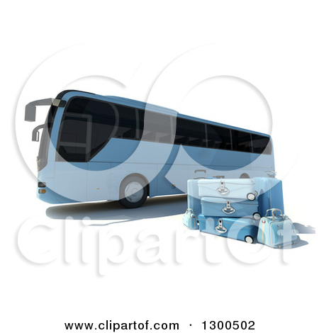 Clipart of a 3d Blue Coach Bus with Luggage, on White.