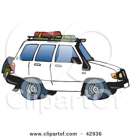 Clipart Illustration of a White SUV With Luggage on the Rack by.
