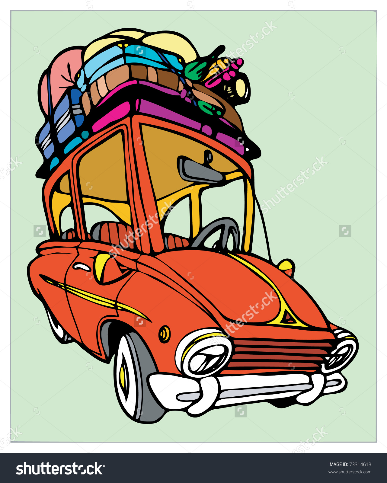 Red Car With Luggage For Holidays. Stock Vector Illustration.