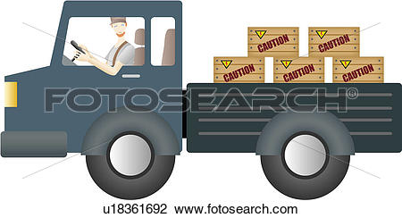 Clip Art of delivery service, delivery, luggage, caution.