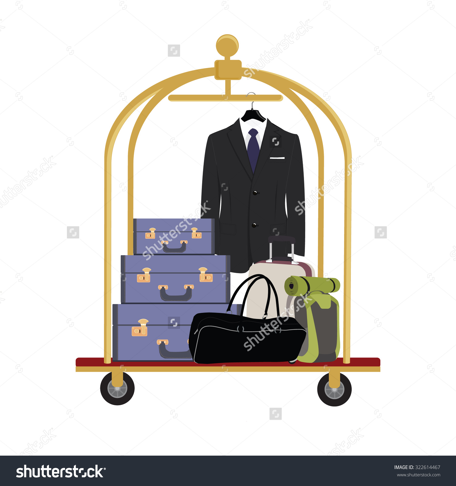 Vector Illustration Hotel Luggage Cart Luggage Stock Vector.