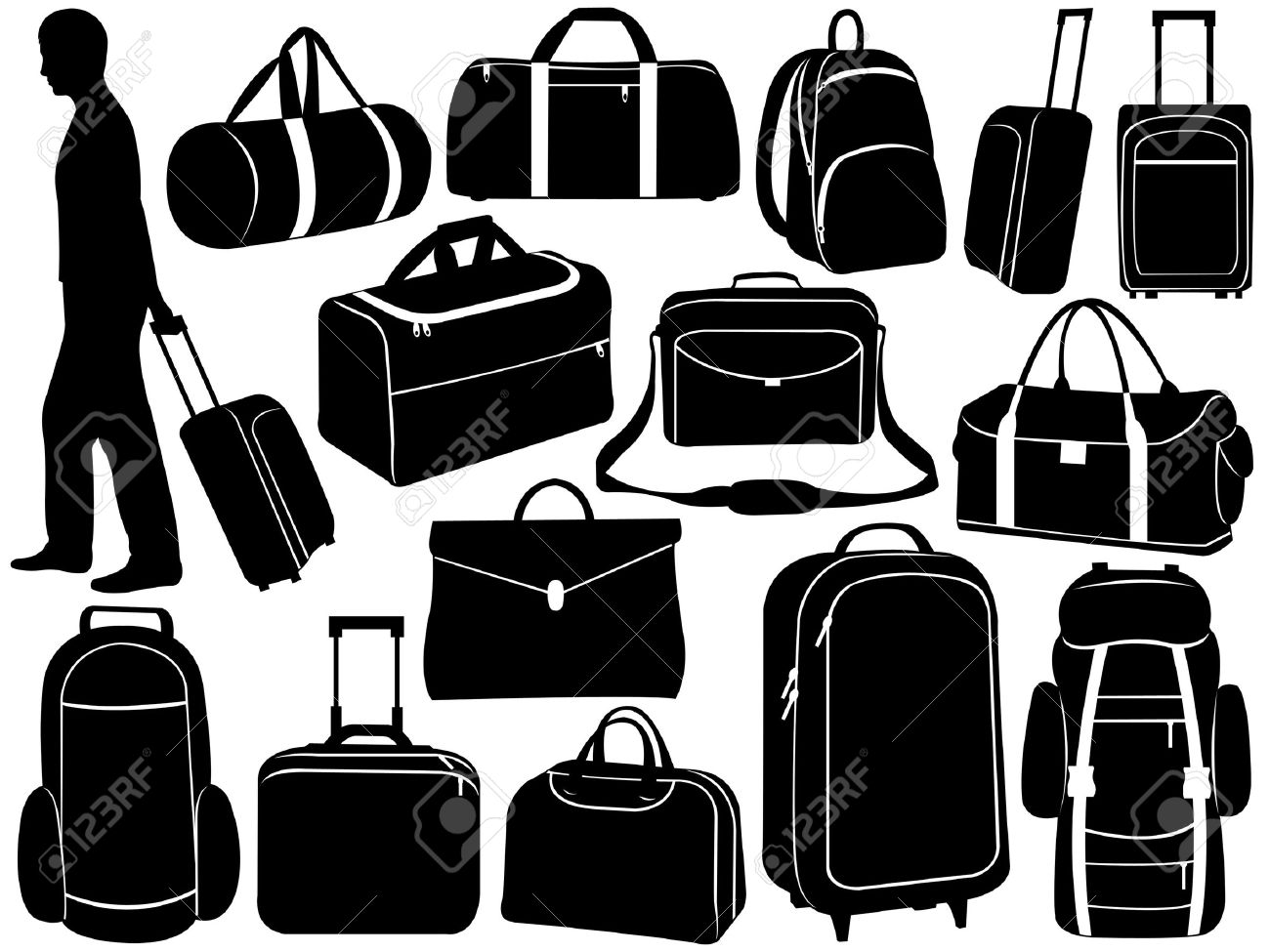 Different Bags Set Isolated On White Royalty Free Cliparts.
