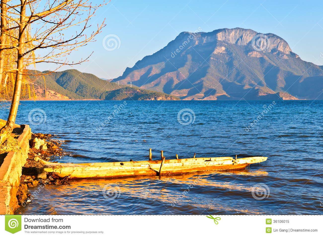 Lugu Lake(Luguhu) Bank Royalty Free Stock Photo.